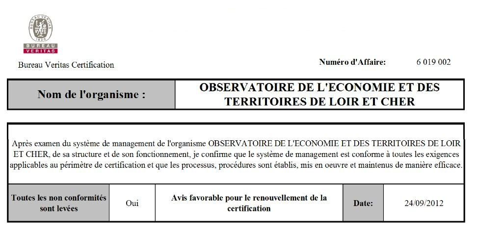 Audit qualité 2012 observatoire bureau veritas certification