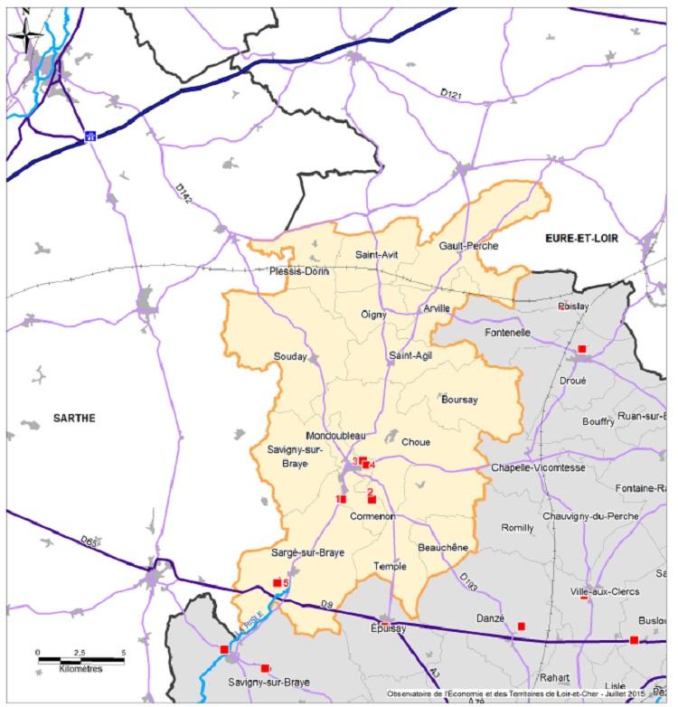 Carte de situation des zones d'activités sur la communauté de communes des Collines du Perche