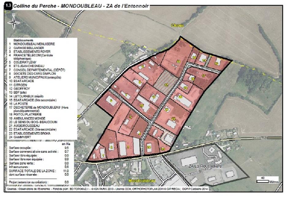 Plan détaillé de la zone de l'Entonnoir à Mondoubleau (extrait de l'atlas des zones d'activités du Loir-et-Cher)