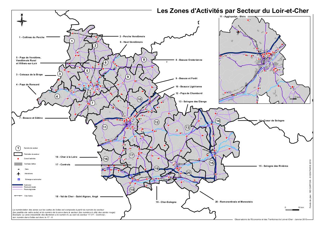 Zones d'activités par secteur du Loir-et-Cher