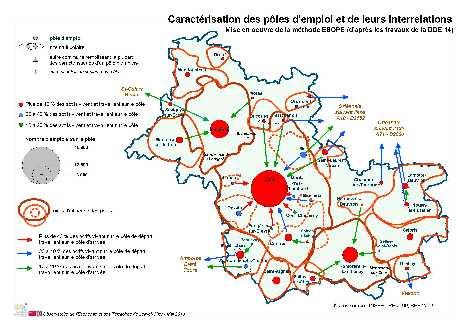 Carte des pôles d'emploi et liaisons interpôles